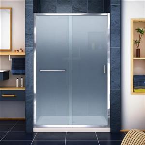 DreamLine Infinity-Z Alcove Shower Kit - 36-in x 48-in - Center Drain - Chrome