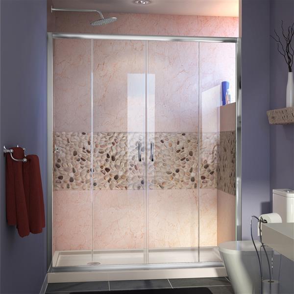 DreamLine Alcove Shower Kit - 30-in x 60-in- Left Drain - Chrome