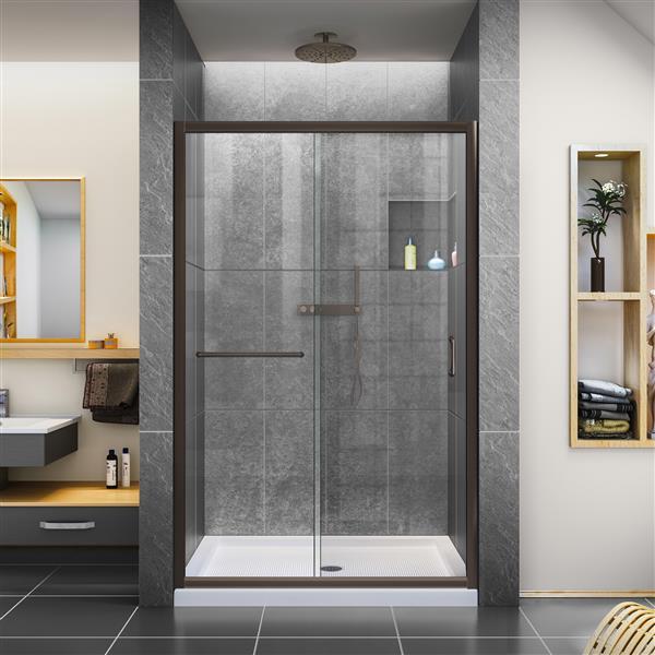 DreamLine Infinity-Z Alcove Shower Kit - 36-in x 48-in - Dark Bronze
