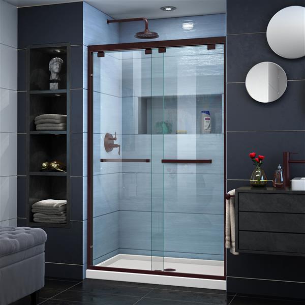 DreamLine Encore Alcove Shower Kit - 34-in x 48-in - Center Drain - Bronze