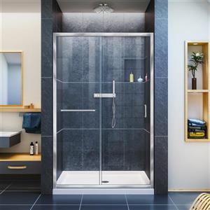 DreamLine Infinity-Z Alcove Shower Kit - Glass Panels - 36-in x 48-in - Chrome