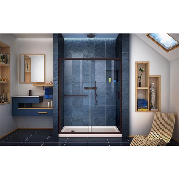 DreamLine Infinity-Z Alcove Shower Kit - 36-in- Left Drain - Dark Bronze