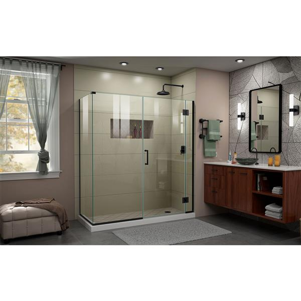 DreamLine Unidoor-X Shower Enclosure - 4 Glass Panels - 63.5-in x 34.38-in x 72-in - Satin Black