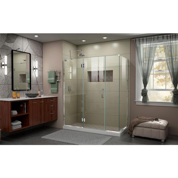 DreamLine Unidoor-X Glass Shower Enclosure - 4-Panel - 63.5-in x 30.38-in x 72-in - Chrome