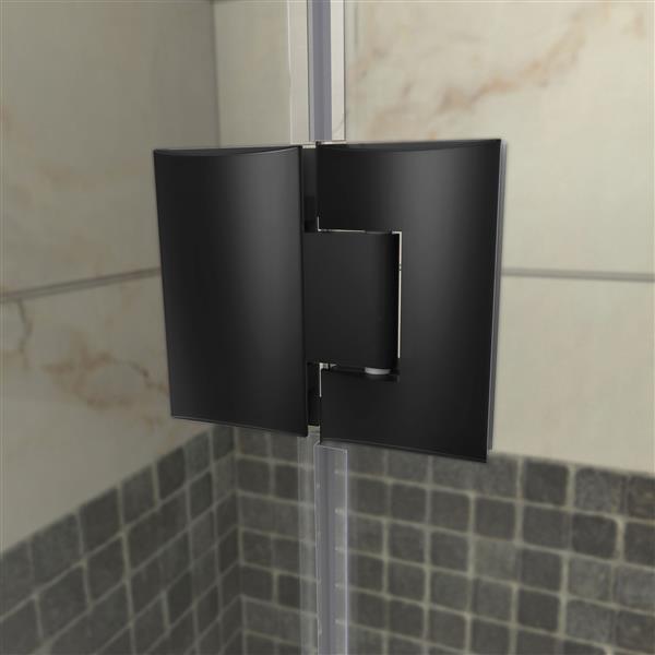 DreamLine Unidoor-X Shower Enclosure - 4 Glass Panels - 40.5-in x 34.38-in x 72-in - Satin Black