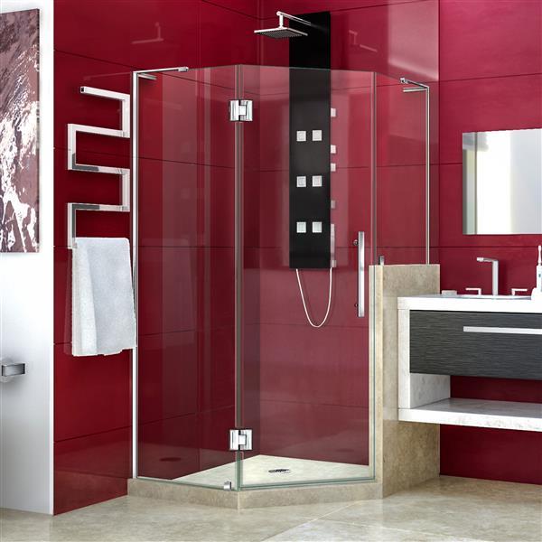 DreamLine Unidoor-X Shower Enclosure - 3 Glass Panels - 40-in x 40-in x 72-in - Chrome