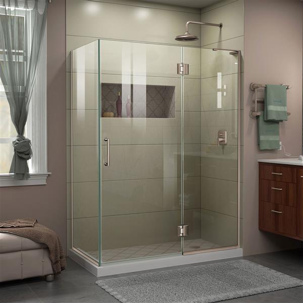 DreamLine Unidoor-X Shower Enclosure - 3 Glass Panels - 47.38-in x 72-in - Brushed Nickel