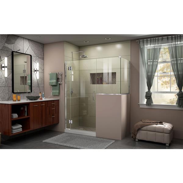 DreamLine Unidoor-X Glass Shower Enclosure - 4-Panel - 60-in x 36.38-in x 72-in - Chrome