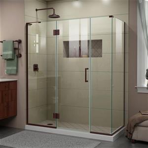 Cabine de douche en verre Unidoor-X DreamLine, 4 panneaux, 64,5 po x 30,38 po x 72 po, bronze huilé