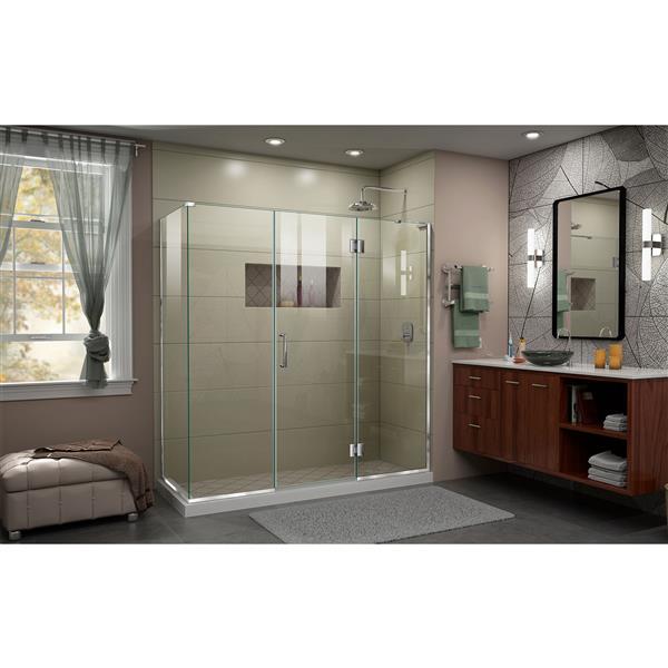 DreamLine Unidoor-X Shower Enclosure - 4 Glass Panels - 70.5-in x 30.38-in x 72-in - Chrome