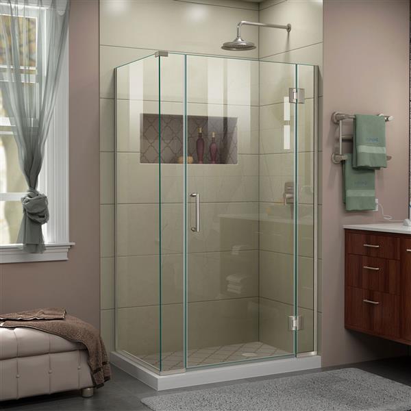DreamLine Unidoor-X Shower Enclosure - 4 Glass Panels - 40-in x 34.38-in x 72-in - Brushed Nickel