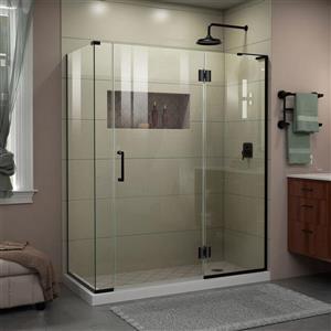 Cabine de douche en verre Unidoor-X DreamLine, 4 panneaux sans cadre, 57 po x 34,38 po x 72 po, noir satiné