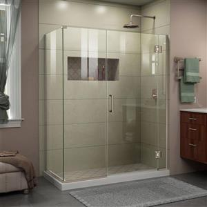 Cabine de douche en verre Unidoor-X DreamLine, 3 panneaux, 46 po x 34,38 po x 72 po, nickel brossé