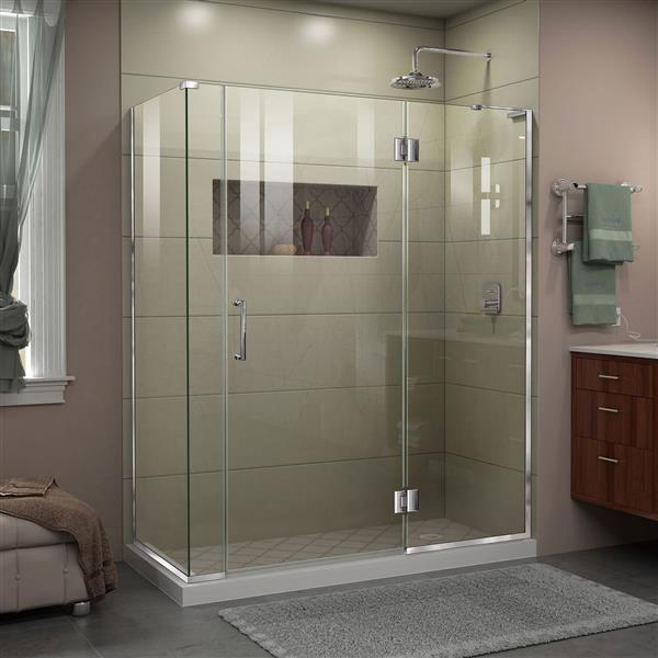 Cabine de douche en verre Unidoor-X DreamLine, 4 panneaux sans cadre, 57,5 po x 30,38 po x 72 po, chrome