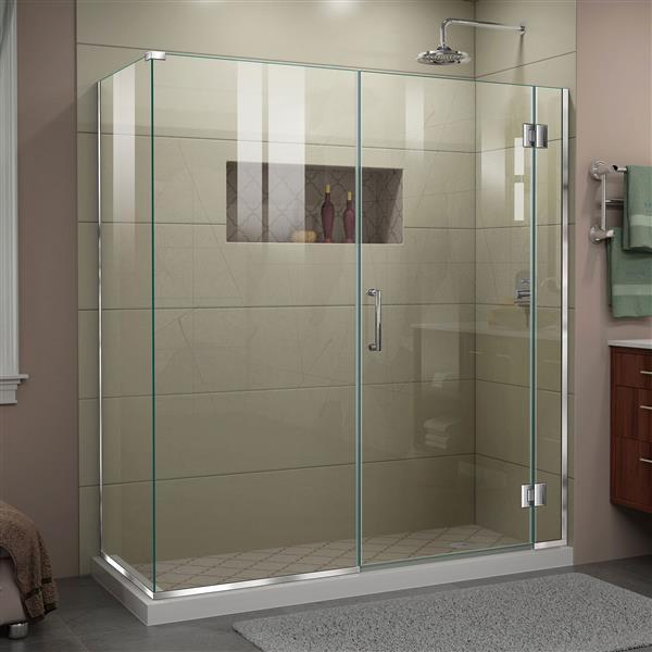 DreamLine Unidoor-X Shower Enclosure - 4 Glass Panels - 64.5-in x 30.38-in x 72-in - Chrome