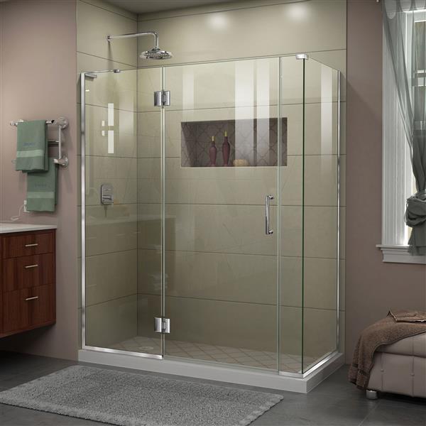 DreamLine Unidoor-X Shower Enclosure - 4 Glass Panels - 58-in x 34.38-in x 72-in - Chrome