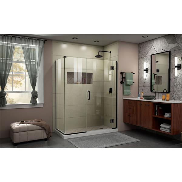 Cabine de douche en verre Unidoor-X DreamLine, 4 panneaux, 64 po x 34,38 po x 72 po, nickel brossé