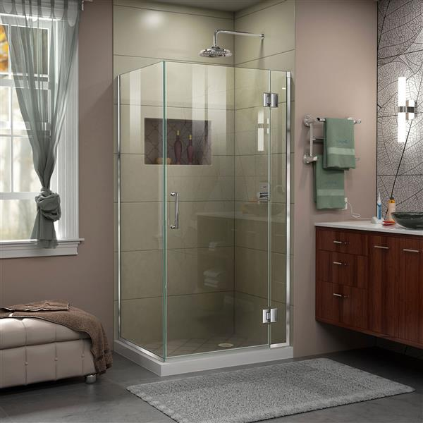 DreamLine Unidoor-X Shower Enclosure - 3 Glass Panels - 35.38-in x 30-in x 72-in - Chrome