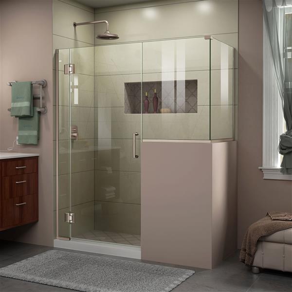 DreamLine Unidoor-X Shower Enclosure - Hinged Door - 60-in x 36.38-in x 72-in - Brushed Nickel