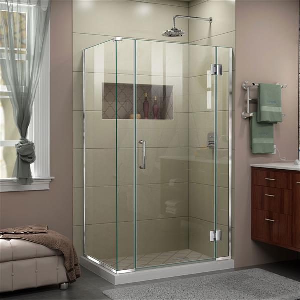 DreamLine Unidoor-X Shower Enclosure - 4 Glass Panels - 40-in x 30.38-in x 72-in - Chrome