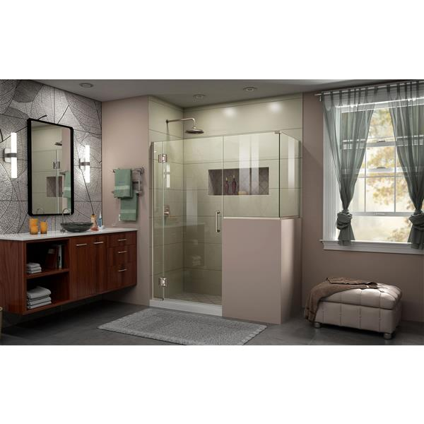 DreamLine Unidoor-X Glass Shower Enclosure - 4-Panel - 60-in x 36.38-in x 72-in - Brushed Nickel