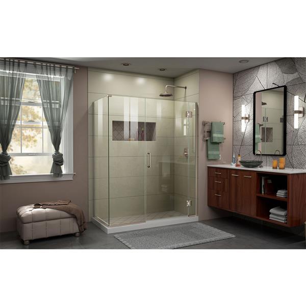 DreamLine Unidoor-X Shower Enclosure - 3 Glass Panels - 46.5-in x 30.38-in x 72-in - Brushed Nickel