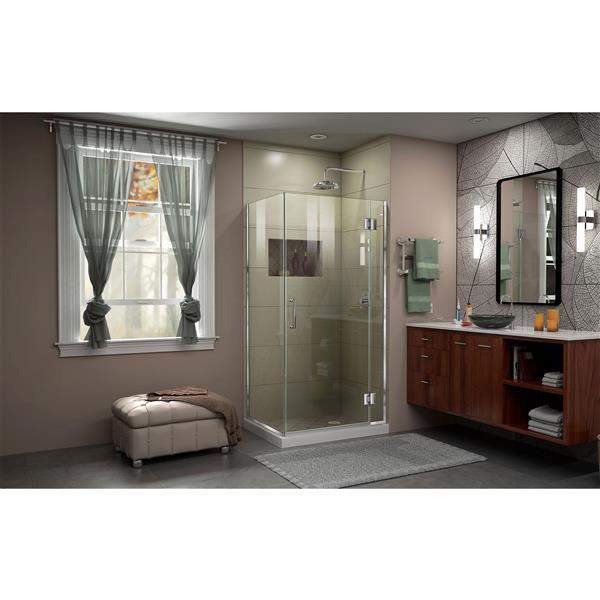 DreamLine Unidoor-X Shower Enclosure - 3 Glass Panels - 30.38-in x 30-in x 72-in - Chrome