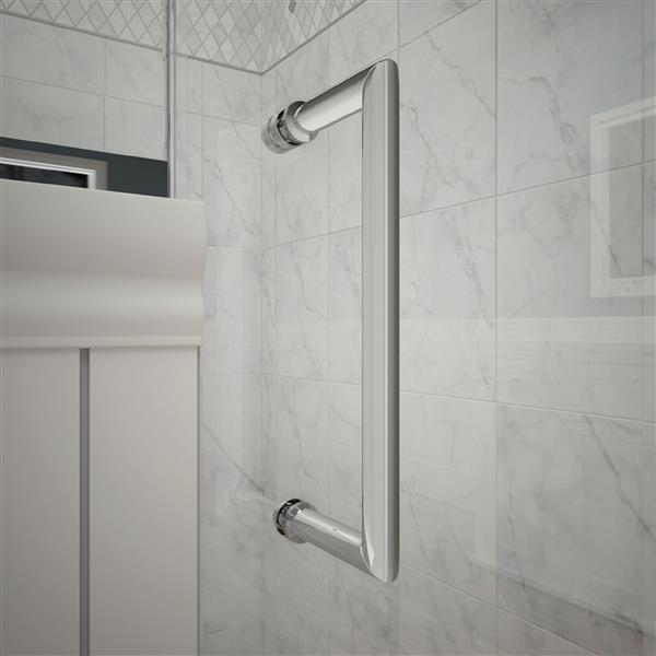 DreamLine Unidoor-X Glass Shower Enclosure - 4-Panel - 59-in x 34.38-in x 72-in - Chrome