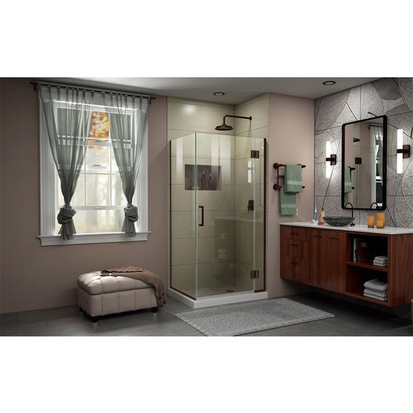DreamLine Unidoor-X Shower Enclosure - 3 Glass Panels - 34.38-in x 30-in x 72-in - Oil Rubbed Bronze