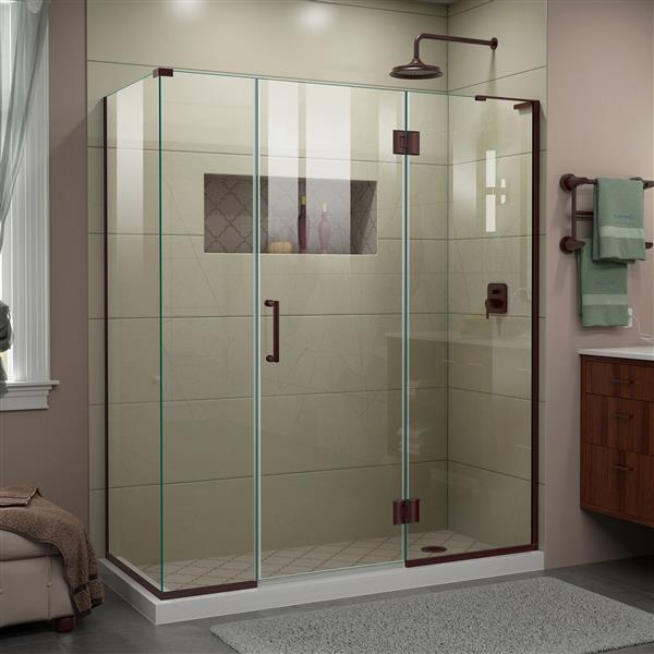 DreamLine Unidoor-X Shower Enclosure - 4 Glass Panels - 64-in x 34.38-in x 72-in - Oil Rubbed Bronze