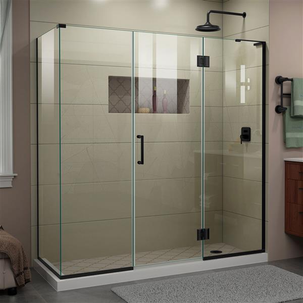 DreamLine Unidoor-X Shower Enclosure - 4 Glass Panels - 70.5-in x 34.38-in x 72-in - Satin Black