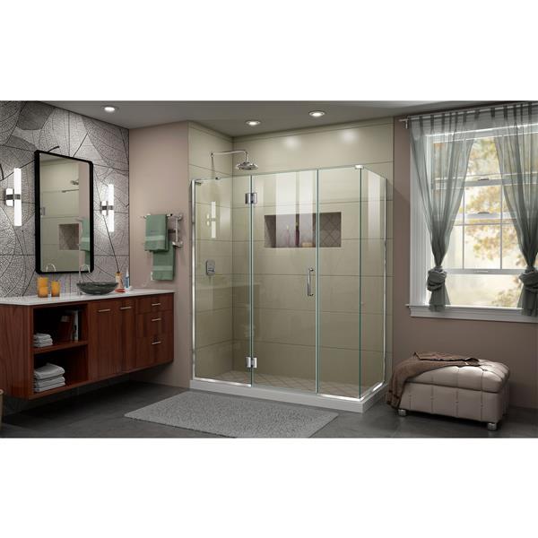 DreamLine Unidoor-X Glass Shower Enclosure - 4-Panel - Hinged Door - 64-in x 34.38-in x 72-in - Chrome