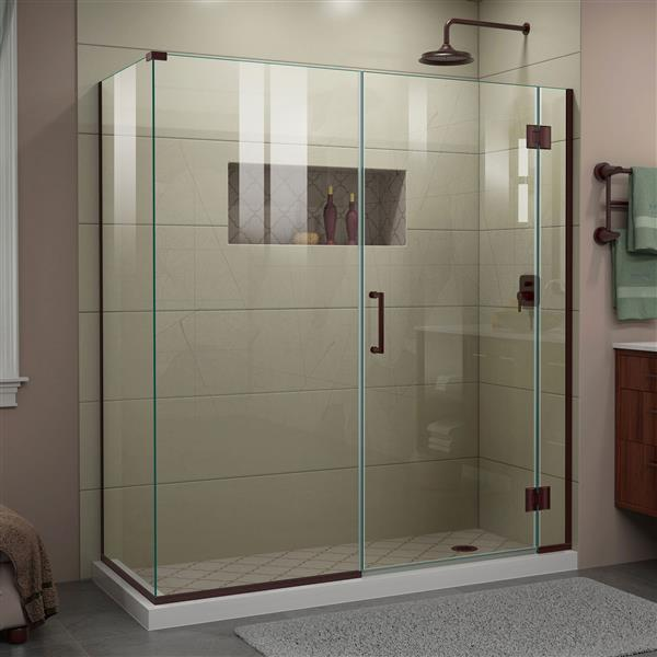DreamLine Unidoor-X Glass Shower Enclosure - 4-Panel - 64-in x 34.38-in x 72-in - Oil Rubbed Bronze