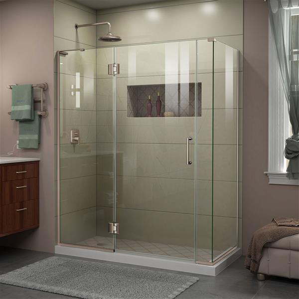 DreamLine Unidoor-X Shower Enclosure - 4 Glass Panels - 58.5-in x 30.38-in x 72-in - Brushed Nickel