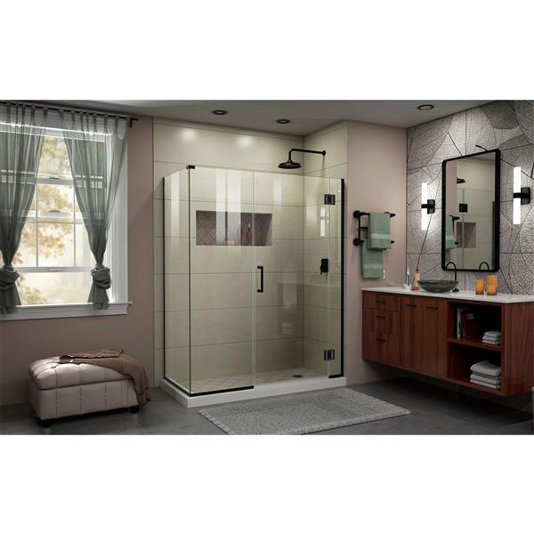 Cabine de douche en verre Unidoor-X DreamLine, 3 panneaux, 48 po x 30,38 po x 72 po, noir satiné
