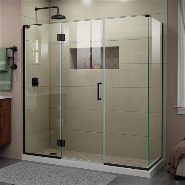 DreamLine Unidoor-X Shower Enclosure - 4 Glass Panels - 70.5-in x 72-in - Satin Black