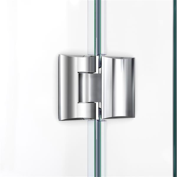 DreamLine Unidoor-X Shower Enclosure - 4 Glass Panels - Hinged Door - 64-in x 30.38-in x 72-in - Chrome