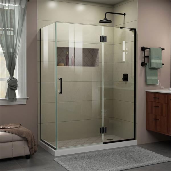 DreamLine Unidoor-X Shower Enclosure - 3 Glass Panels - 47.38-in x 72-in - Satin Black