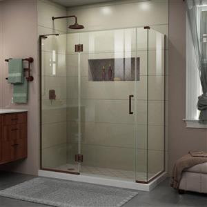 Cabine de douche en verre Unidoor-X DreamLine, sans cadre, 60 po x 30,38 po x 72 po, bronze huilé