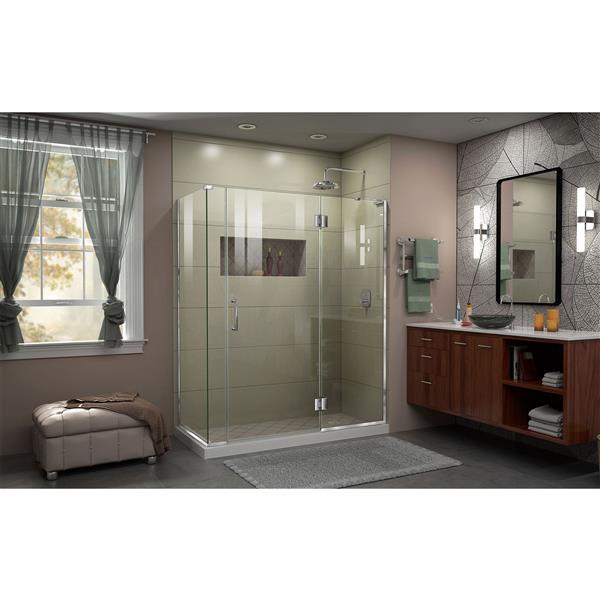 DreamLine Unidoor-X Shower Enclosure - 4 Glass Panels - 59-in x 72-in - Chrome