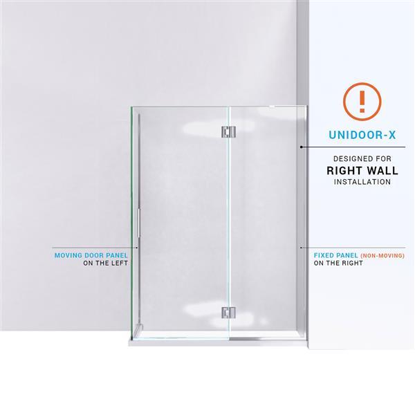DreamLine Unidoor-X Shower Enclosure - 3-Panel - 47.38-in x 34-in x 72-in - Brushed Nickel