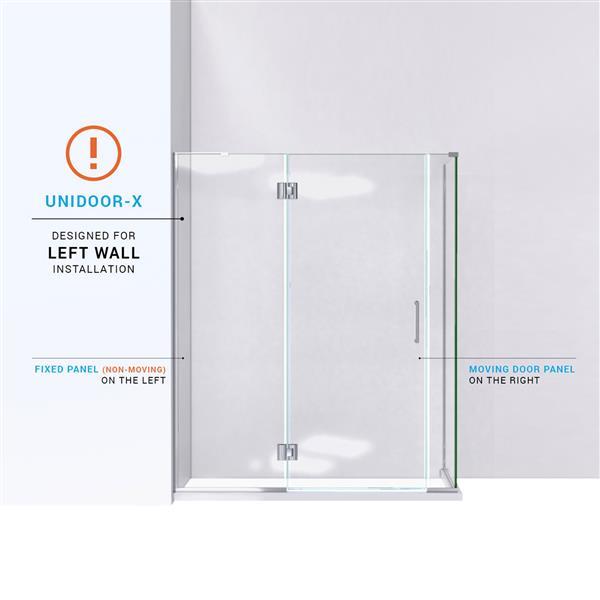 Cabine de douche Unidoor-X DreamLine, 4 panneaux en verre, 58 po x 30,38 po x 72 po, chrome