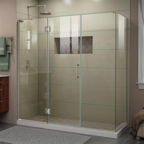 DreamLine Unidoor-X Glass Shower Enclosure - 4-Panel - 70-in x 34.38-in x 72-in - Brushed Nickel