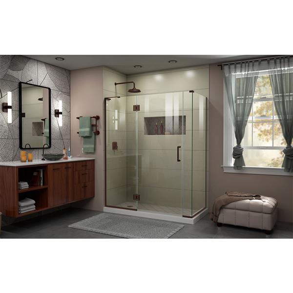 DreamLine Unidoor-X Shower Enclosure - 4 Glass Panels - 57.5-in x 30.38-in x 72-in - Oil Rubbed Bronze