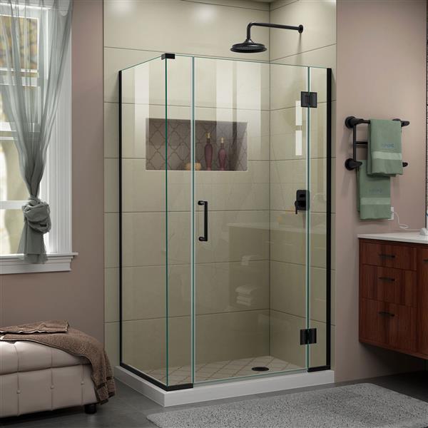 Cabine de douche en verre Unidoor-X DreamLine, 4 panneaux, 40 po x 34,38 po x 72 po, noir satiné