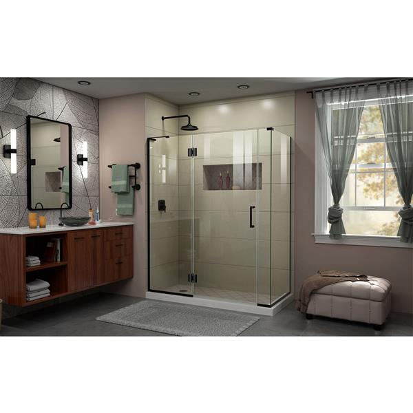 DreamLine Unidoor-X Shower Enclosure - 4 Glass Panels - 59-in x 34.38-in x 72-in - Satin Black