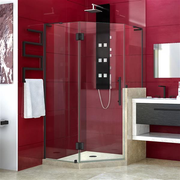 DreamLine Unidoor-X Shower Enclosure - 3 Glass Panels - 40-in x 40-in x 72-in - Satin Black