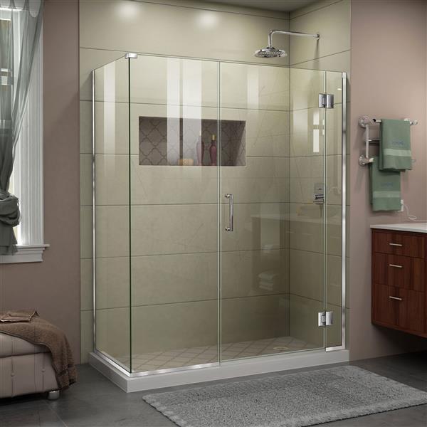 DreamLine Unidoor-X Shower Enclosure - 3 Glass Panels - 57.5-in x 30.38-in x 72-in - Chrome
