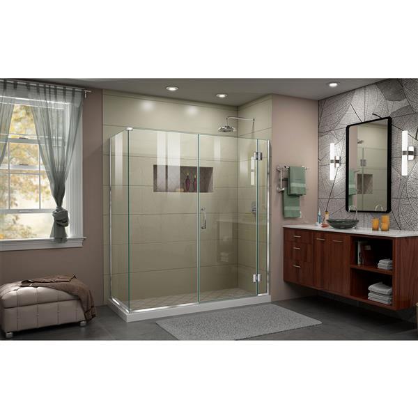 DreamLine Unidoor-X Shower Enclosure - 4 Glass Panels - 63.5-in x 34.38-in x 72-in - Chrome