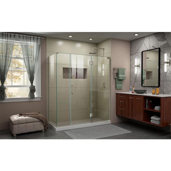 DreamLine Unidoor-X Shower Enclosure - 4 Glass Panels - 63.5-in x 72-in - Brushed Nickel